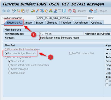 Erstellen des WebRFC Bausteins