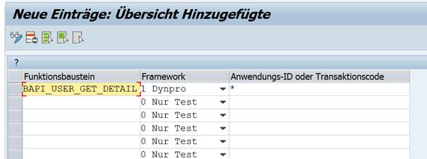 Eintragen WebRFC Bausteins und Klassifizierung des Frameworks der aufrufenden Oberfläche