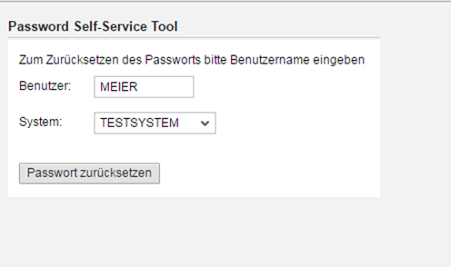Das Tool Password Self-Service für SAP