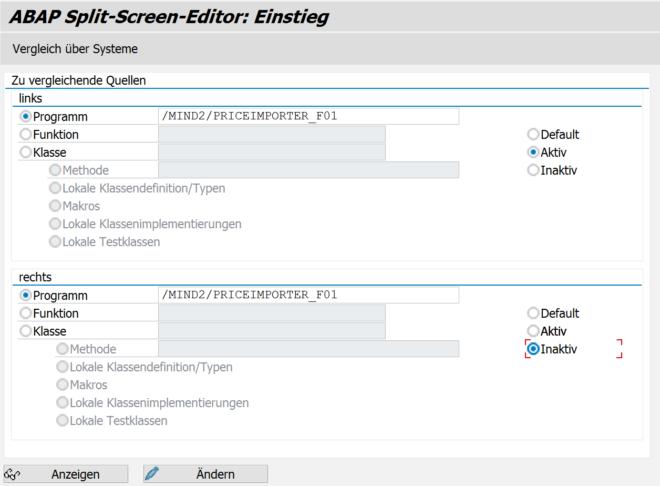 Selektionsbildschirm des Splitscreen-Editors