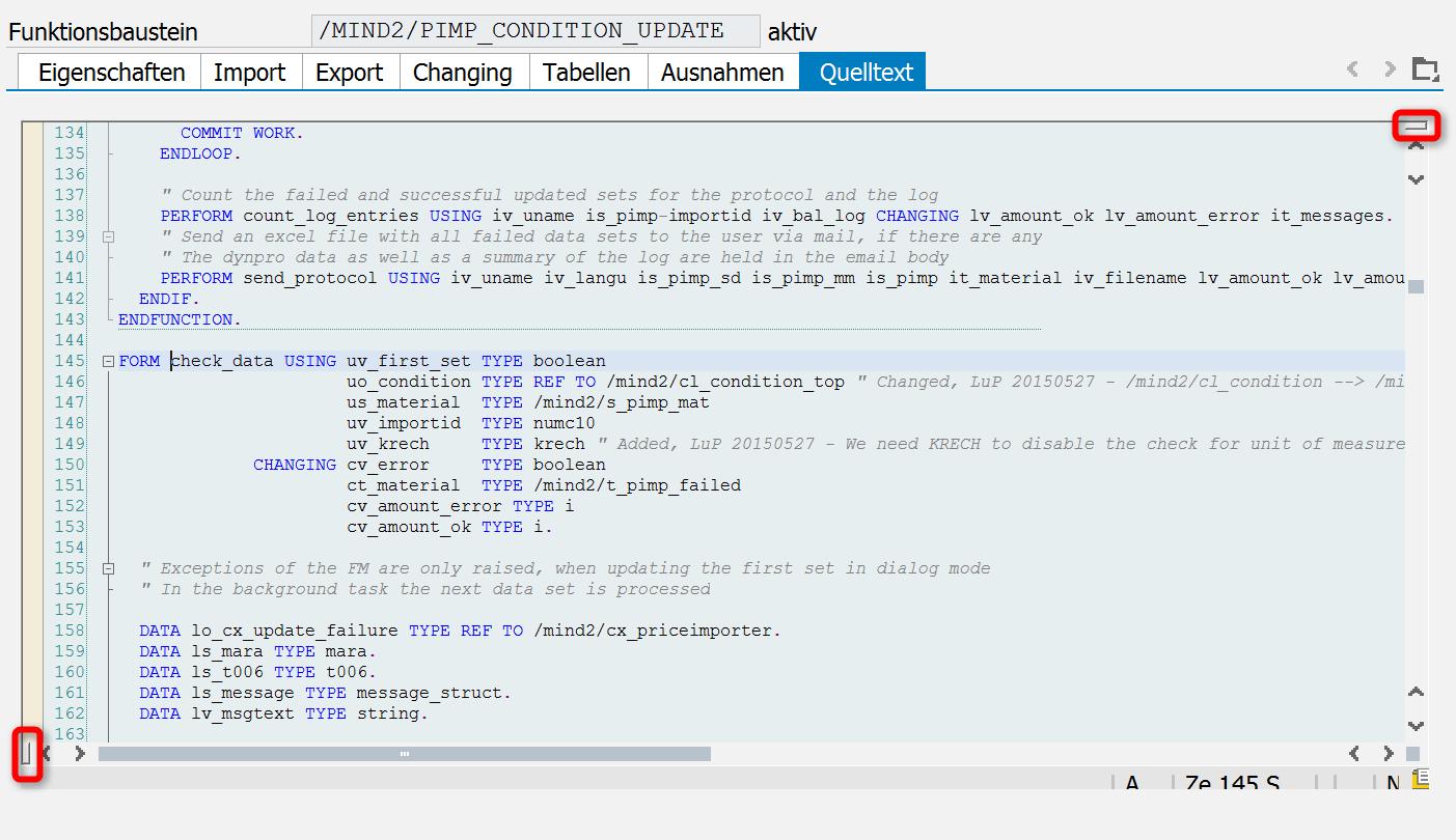 """Versteck"" des Splitscreen-Editors im ABAP-Editor"
