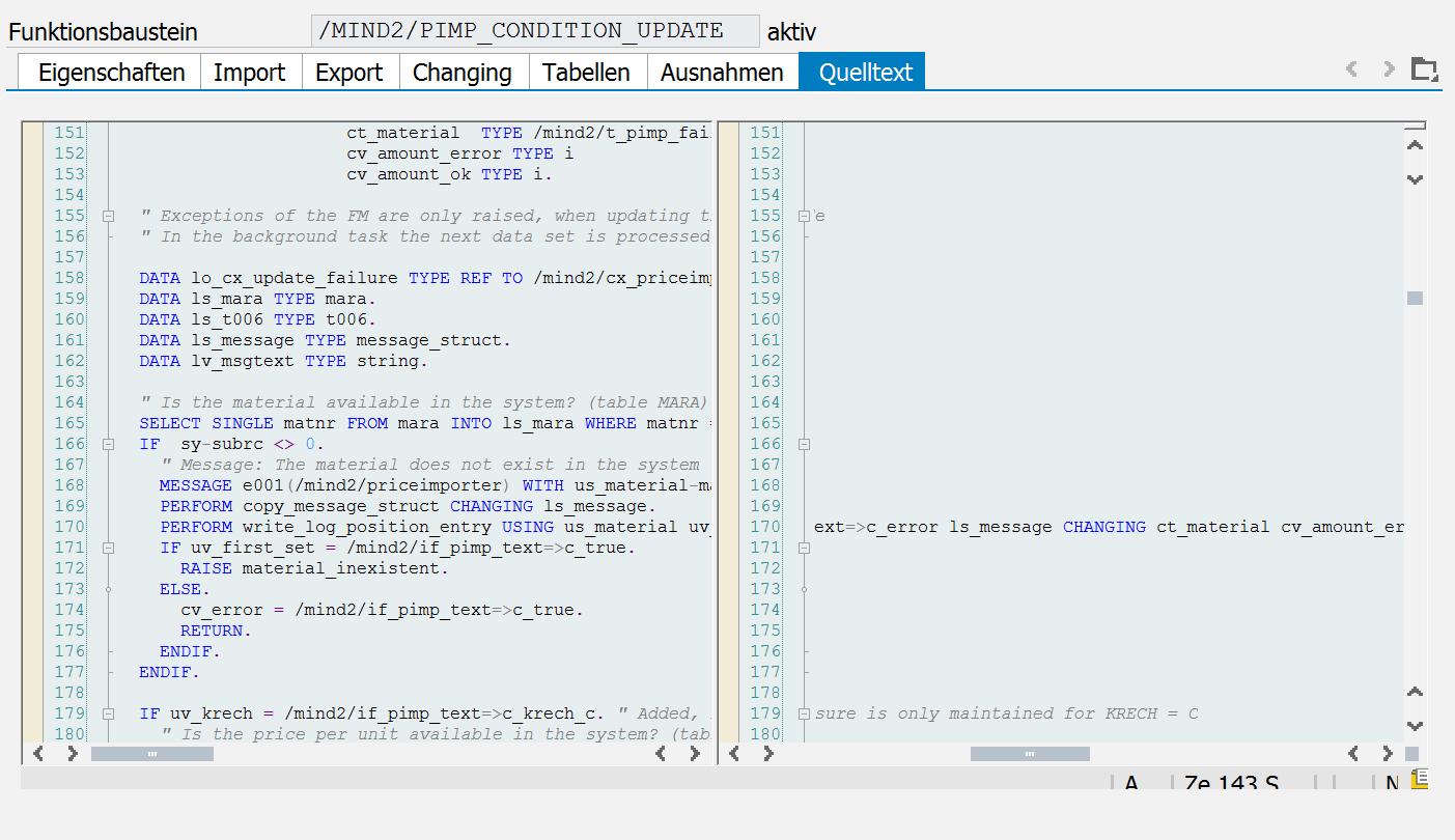 Vertikaler Splitscreen im ABAP-Editor