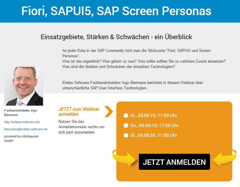 Webinar: Fiori, SAPUI5 und Screen Personas