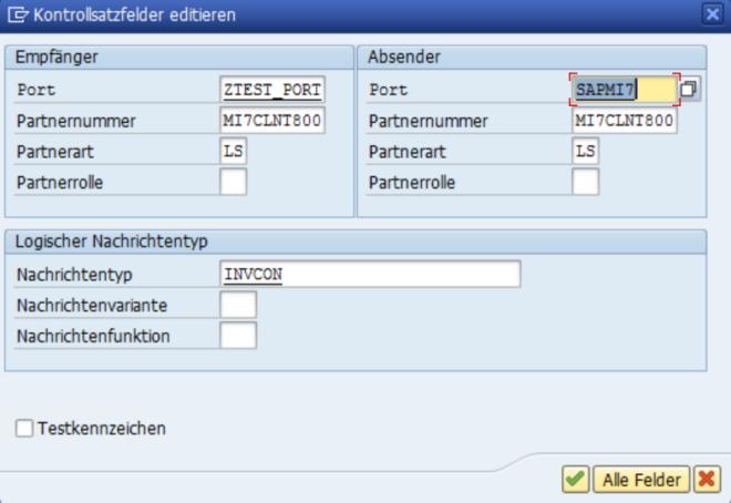 Testwerkzeug - Kontrollsatzfelder editieren