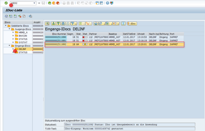 Ergebnis - SAP-System (IDoc-Liste)
