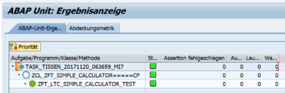 ABAP Unit: Ergebnisanzeige