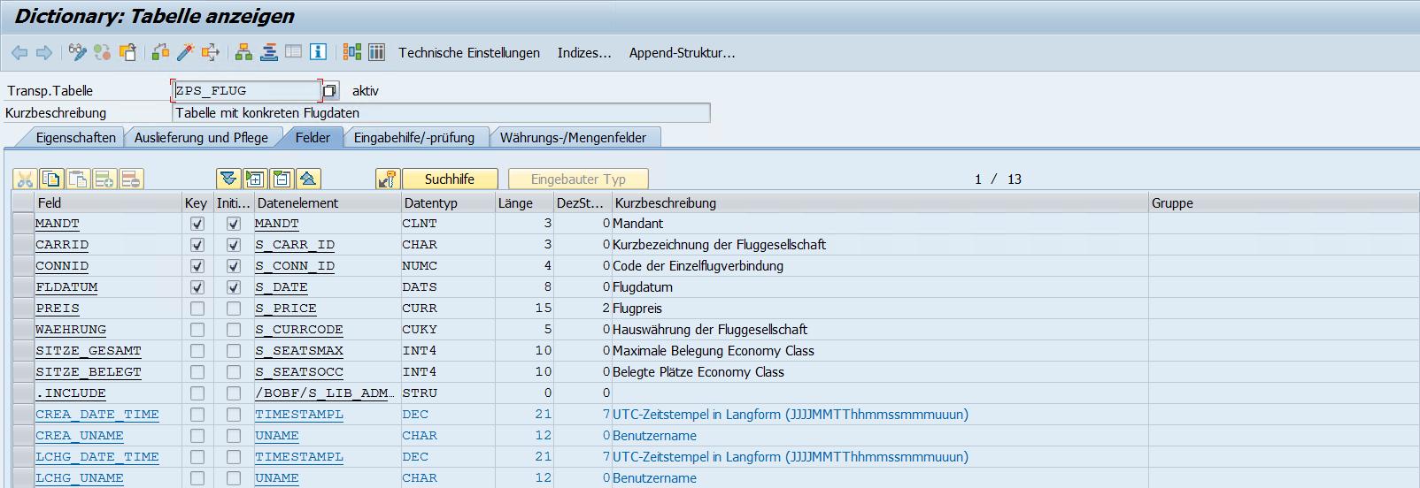 SE11 Tabelle ZPS_FLUG