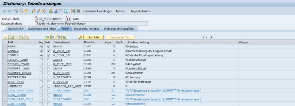 SE11 Tabelle ZPS_VERBINDUNG