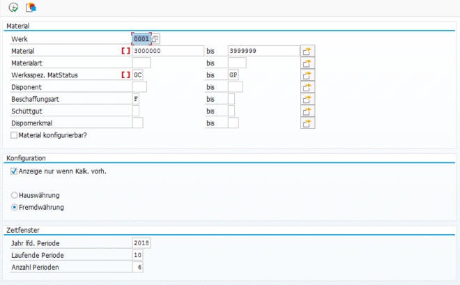 Selektionsbild Report Kalkulation