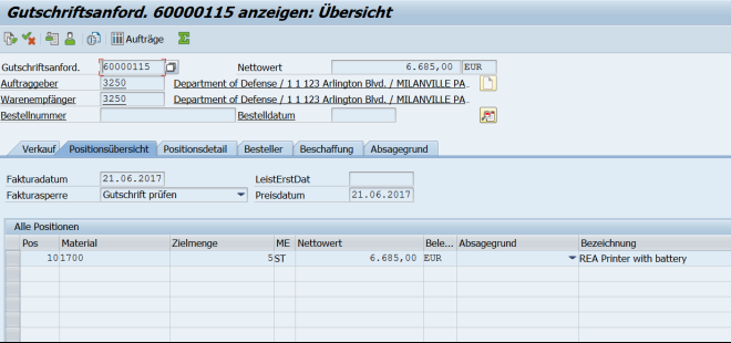 Auftragsdaten in SAP