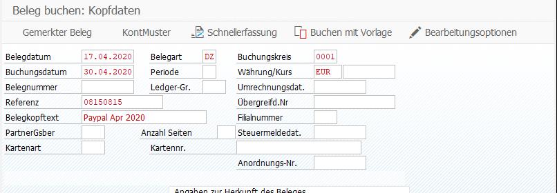 Gewohnte Oberfläche der FB01 bei sichtbarem Abspielen – Felder werden automatisch gefüllt. Damit können Sie wie gewohnt FI-Belge in SAP importieren.