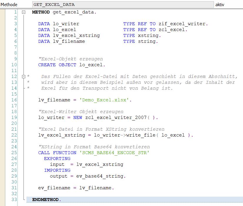 Quelltext der Methode, welche die Excel erzeugt und konvertiert