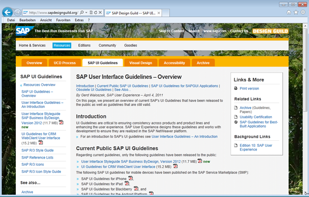 Screenshot SAP Design Guild Webseite